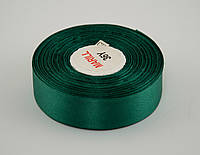 Лента атлас 4 см, 33 м, № 56 темно зеленая