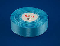 Лента атлас 4 см, 33 м, № 62 голубая
