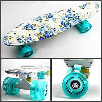 """Пенни борд Penny Board Full """"Flowers"""" Светящиеся колеса."""
