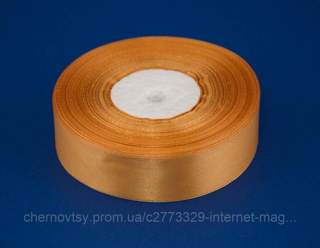 Лента атлас 4 см, 33 м, № 161 светло золотистая