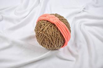 Трикотажная повязка Косичка, персиковая неоновая 42-48