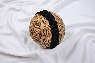 Трикотажная повязка Косичка, черная 42-54