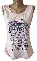 Майка женская сетка велосипед цветы текст полу батал (лето)