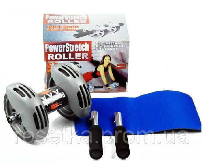 Тренажер колесо двойного действия с ковриком Power Stretch Roller, ролик для пресса