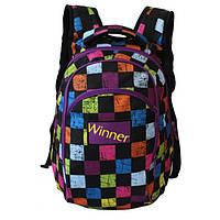 Рюкзак для девочки WS с вентилируемой спинкой (розово-бирюзовый, сиреневый