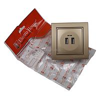 Розетка ElectroHouse USB золотой Enzo EH-2530-LG