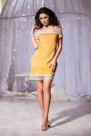 Эффектное платье из эко замша с кружевом
