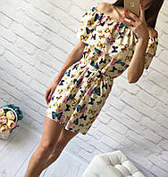Летнее платье с двумя воланами «Трансформер» три варианта носки, с поясом яркий принт: бабочки