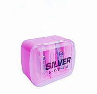 Точилка двойная косметическая Silver розовая