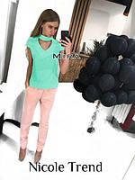 Блузка с чокером , в наличии Цвета:  мятный, персиковый, черный, белый, электрик,бордовый.Размеры: 42,44,46,48