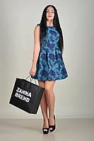 Женское летнее бирюзовое платье с синими цветами