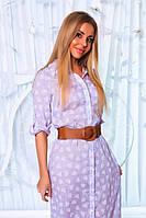 Платье- рубашка  из коттона с принтом
