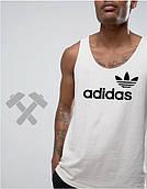 Майка мужская белая Adidas Адидас (большой принт)