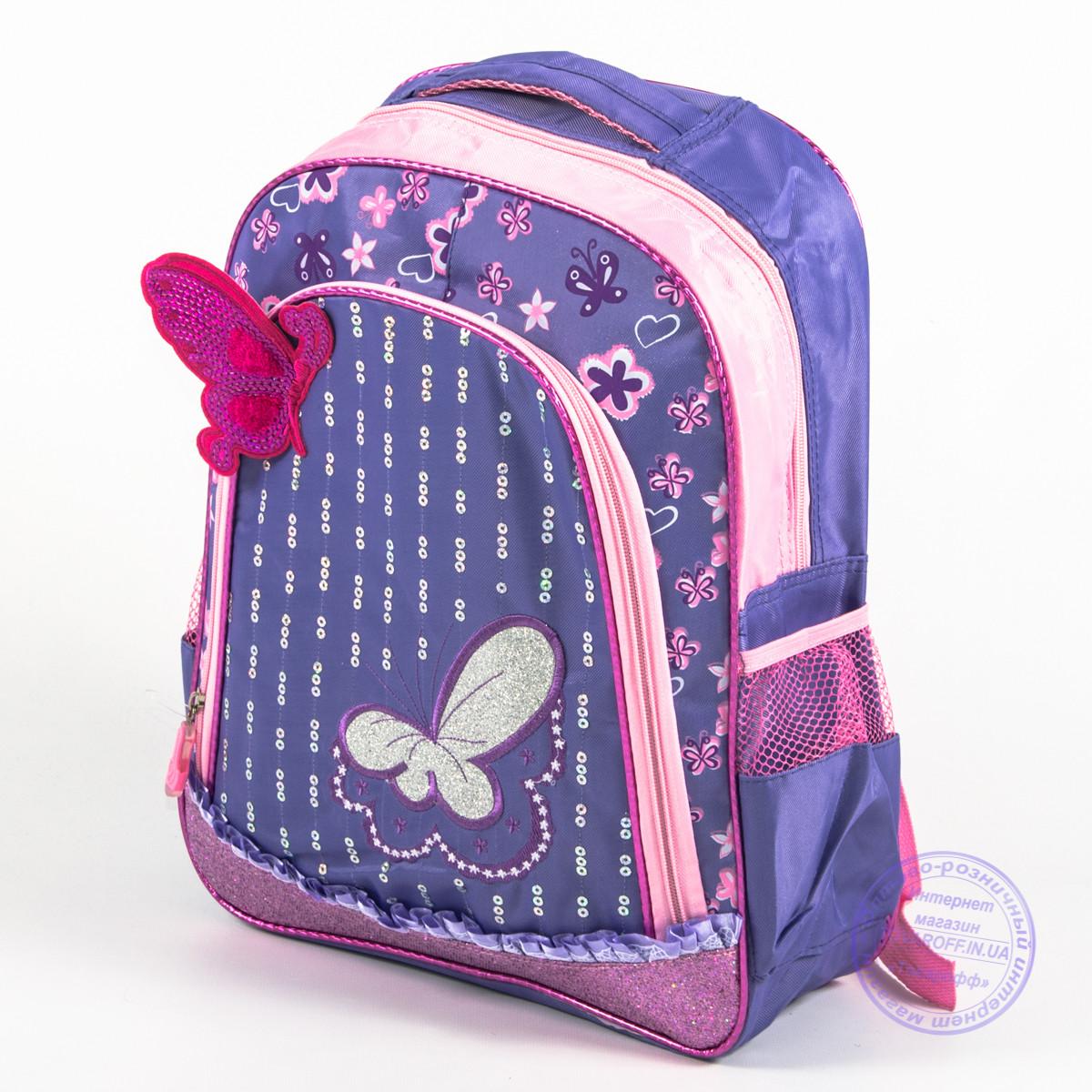 Школьный рюкзак для девочек с бабочкой - сиреневый - 151