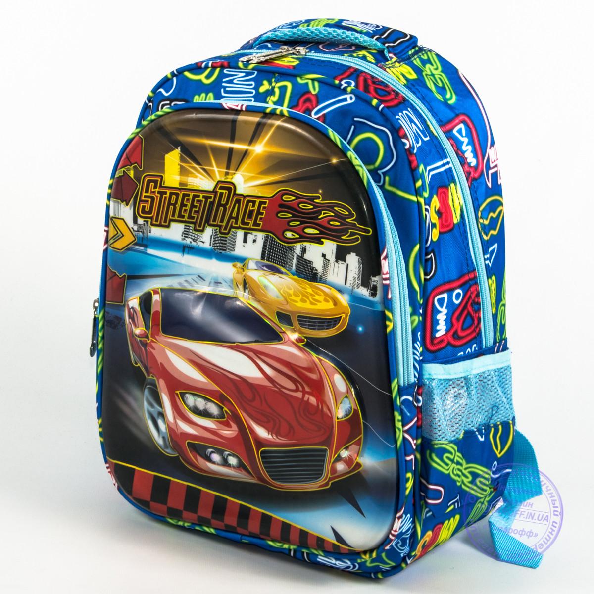 Школьный рюкзак для мальчика с 3D машиной - голубой - 121
