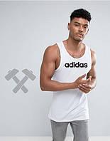 Молодежная майка белая Adidas Адидас (большой принт)