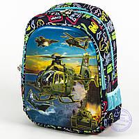 Школьный рюкзак для мальчика с 3D вертолетом - синий - 121