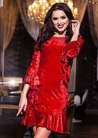 Платье бархатное с рюшами