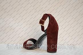 Босоножки женские на толстом устойчивом каблуке натуральная замша, фото 3