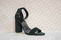 Босоножки женские на толстом устойчивом каблуке натуральная замша зеленые