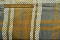 Махра принт крупная клетка  серо-жёлтая с белыми полосками