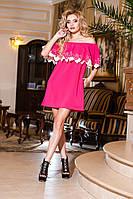 Шикарное платье с воланом на плечах