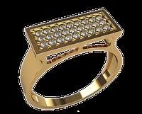 Мужское золотое кольца соты