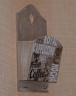 "Настінна ключниця з кишенею ""Кава"""