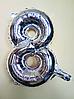"""Фольгированные шары цифры """"8"""" 16"""" (40 см) Серебро Balloons"""