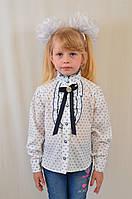Красивая нарядная школьная блуза с принтом