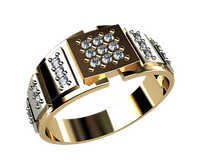Мужское золотое кольца с камнями Ролекс