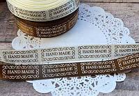 """Декоративные ленты с надписью """"Hand Made"""" в рамочке, кремовая и коричневая, 2 х 15мм х 2 м"""