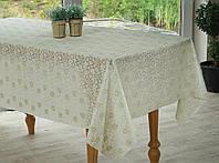 Бежевая скатерть на праздничный стол  Ажур Маленькие розочки