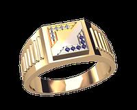 Мужское золотое кольцо с разделением