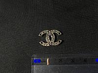 Пришивная металлическая эмблема Chanel  цвет серебро