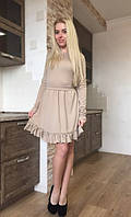 Эластичное платье с рюшами