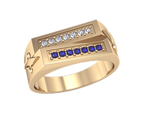 Мужское золотое кольцо Две дороги