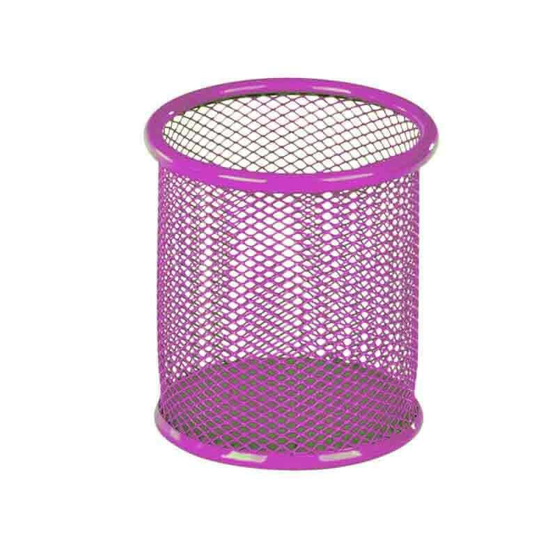 Стакан для ручек металлический, розовый