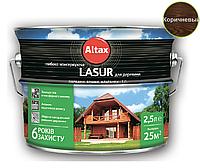 Лазурь-лак алкидный ALTAX LASUR ГЛИБОКОКОНСЕРВУЮЧА для древесины коричневый, 2,5л