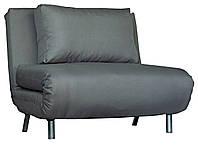 Раскладное стильное кресло кровать тканевое серое
