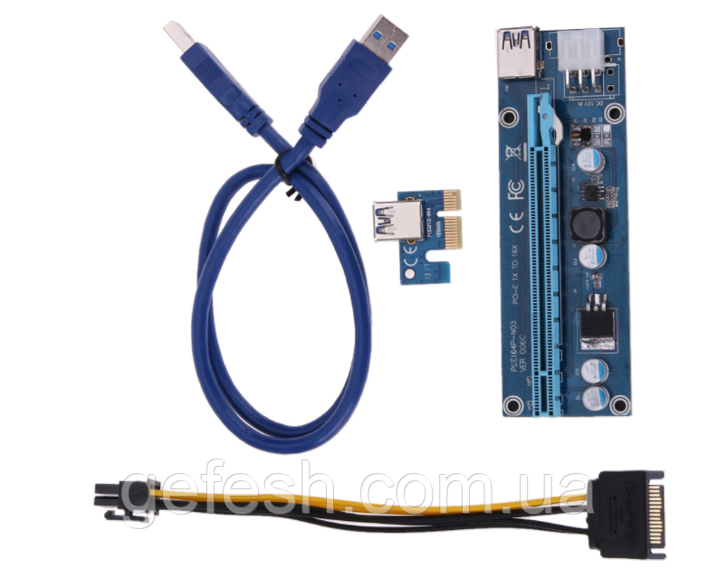 Райзер USB 3.0 PCI-E Express  Riser 1X - 16X  для видеокарт 60 см - HOLOD.KV в Киеве