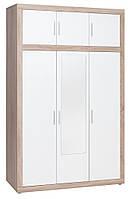 Шкаф 3-х дверный с зеркалом + 3 ящика (цвет дуб белый), ширина 140 см