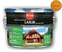 Лазурь-лак алкидный ALTAX LASUR ГЛИБОКОКОНСЕРВУЮЧА для древесины сосна, 2,5л