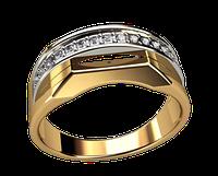 Мужское золотое кольцо Полумесяц