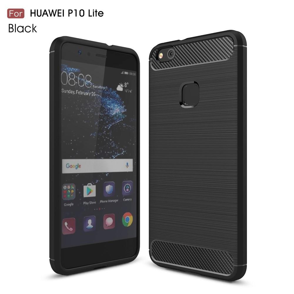 Чехол накладка TPU Fiber Carbon для Huawei P10 Lite черный