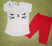 Летний нарядный костюм для девочки - футболка и лосины 6-24 месяцев