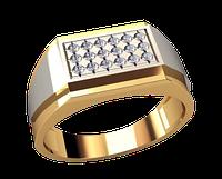 Мужское золотое кольцо сплав белого и красного золота