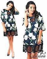 Платье из экокожи с гипюром, фото 1