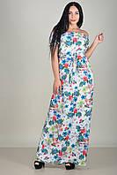 Длинное белое платье-крестьянка с поясом и цеточным рисунком