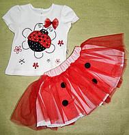 Летний нарядный костюм для девочки - футболка и юбка 6-18 мес